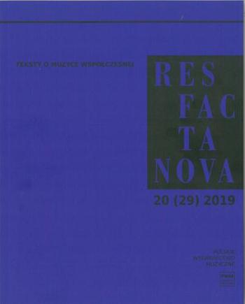 Res Facta Nova 20 (29) 2019 okładka
